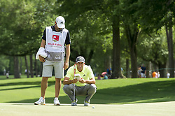 May 5, 2019 - Charlotte, North Carolina, United States of America - Sergio Garcia reads a putt on the ninth green during the final round of the 2019 Wells Fargo Championship at Quail Hollow Club on May 05, 2019 in Charlotte, North Carolina. (Credit Image: © Spencer Lee/ZUMA Wire)