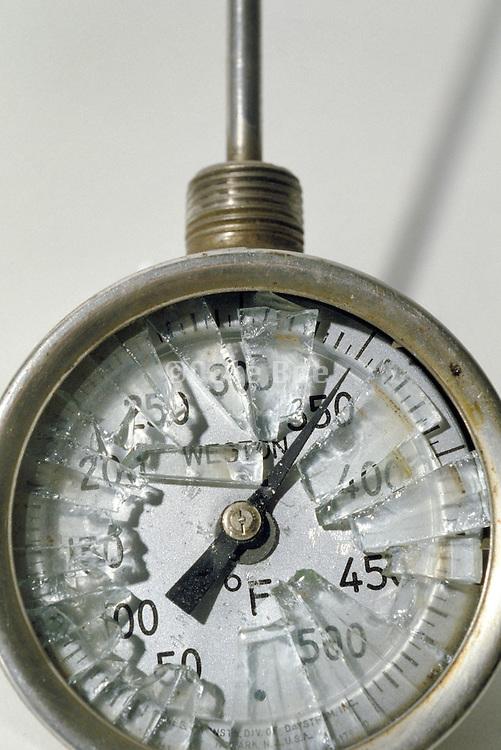 close up of broken dial