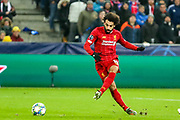 Liverpool forward Mohamed Salah (11) shoots towards the goal during the Champions League match between FC Red Bull Salzburg and Liverpool at the Red Bull Arena, Salzburg, Austria on 10 December 2019.