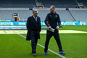 Everton manager Carlo Ancelotti in discussion with Everton coach Duncan Ferguson ahead of the Premier League match between Newcastle United and Everton at St. James's Park, Newcastle, England on 28 December 2019.