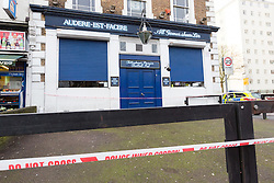 © Licensed to London News Pictures. 04/02/2016. London, UK. General view of the Bill Nicholson pub in Northumberland Park, Tottenham, north London. A murder investigation has been launched after a man was found dead and a woman with multiple life threatening injuries in a flat above the Bill Nicholson pub in Tottenham. Photo credit : Vickie Flores/LNP