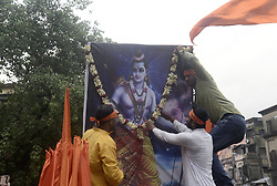 April 5, 2017 - Kolkata, India - Shree Ram devotees hold rally popularly known as ?Sobha Yatra? on the occasion of Ram Navami in Kolkata along with the other parts of India. (Credit Image: © Saikat Paul/Pacific Press via ZUMA Wire)
