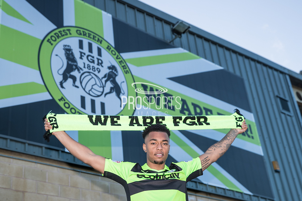 Tahvon Campbell signing for Forest Green Rovers from West Bromwich Albion on loan, at the New Lawn, Forest Green, United Kingdom on 19 January 2018. Photo by Shane Healey.