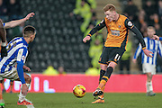 Sam Clucas (Hull City) takes a shot and hits the post having beaten Keiren Westwood (Sheffield Wednesday) during the Sky Bet Championship match between Hull City and Sheffield Wednesday at the KC Stadium, Kingston upon Hull, England on 26 February 2016. Photo by Mark P Doherty.