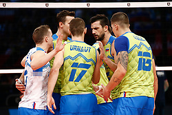 PARIS, FRANCE - SEPTEMBER 29: Mitja Gasparini #6 of Slovenia reacts to a play with his teammates during the EuroVolley 2019 Final match between Serbia and Slovenia at AccorHotels Arena on September 29, 2019 in Paris, France. Photo by Catherine Steenkeste / Sipa / Sportida