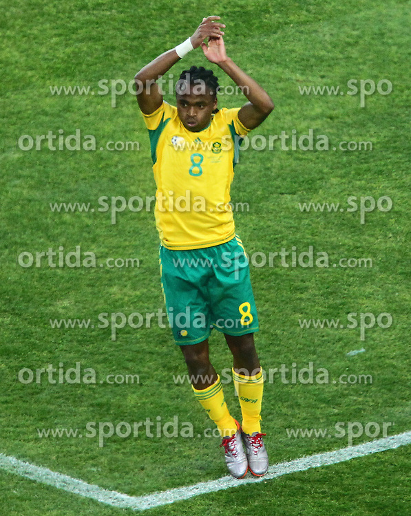 South Africa's Siphiwe Tshabalala celebrates after he scored during the Group A first round 2010 FIFA World Cup South Africa match between South Africa and Mexico at Soccer City Stadium on June 11, 2010 in Johannesburg, South Africa.  (Photo by Vid Ponikvar / Sportida)