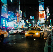 New York cab driving down a busy street, USA