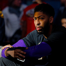 Feb 5, 2018; New Orleans, LA, USA; New Orleans Pelicans forward Anthony Davis during introductions before a game against the Utah Jazz at the Smoothie King Center. Mandatory Credit: Derick E. Hingle-USA TODAY Sports