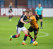 Dundee&rsquo;s Cameron Moore goes past Alloa Athletic's Calum Crane - Dundee under 20s v Alloa Athletic in the Irn Bru Cup Round 1 at Dens Park, Dundee - photograph by David Young<br /> <br />  - &copy; David Young - www.davidyoungphoto.co.uk - email: davidyoungphoto@gmail.com