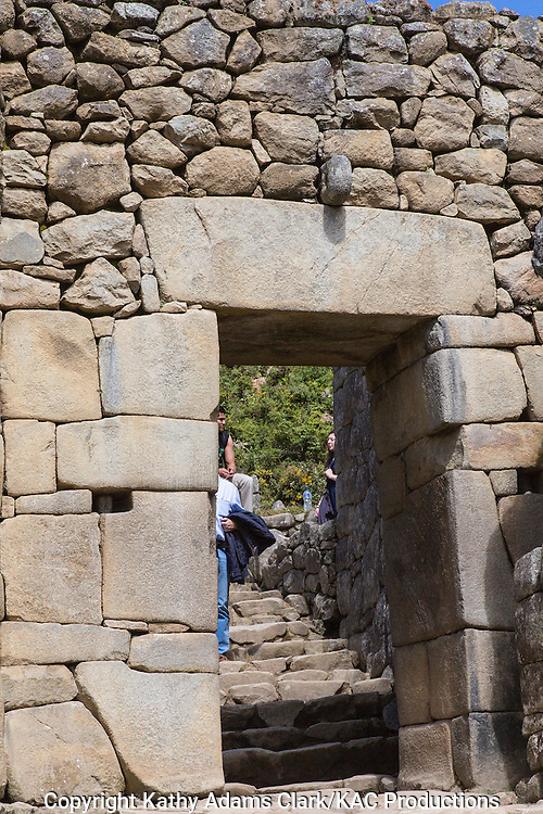 Entrance to the Temple, Gate, main entrance, to the Royal Sector of Machu Picchu, Lost City of the Incas, in the Andes Mountains, of Peru.