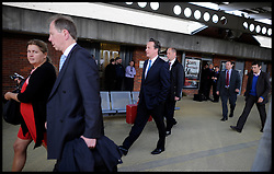 The Prime Minister David Cameron on the platform at Derby Station before his  Local election launch in Afreton, UK, April 16, 2012. Photo By Andrew Parsons / i-Images.