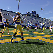 Delaware quarter backs warming up prior to a Week 3 NCAA football game against Bucknell University...#13 Delaware defeated The Bison of Bucknell 19 - 3 at Delaware Stadium Saturday Sept. 15, 2012 in Newark Delaware.