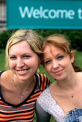 UK ENGLAND LONDON 28JUL05 - Victoria Ventoura (L, 28) of Switzerland and Maria Gurewitsch (R, 18) of Russia pose for a portrait following a short interview in central London...jre/Photo by Jiri Rezac ..© Jiri Rezac 2005..Contact: +44 (0) 7050 110 417.Mobile:  +44 (0) 7801 337 683.Office:  +44 (0) 20 8968 9635..Email:   jiri@jirirezac.com.Web:    www.jirirezac.com..© All images Jiri Rezac 2005 - All rights reserved.