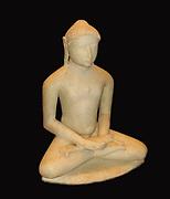 Jain tirthankara. Gujarat.  Second half of the 12th century AD.  The marble teacher figure is shown in the pose of meditation.