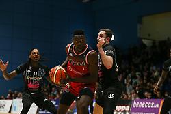 Daniel Edozie of Bristol Flyers on the attack - Photo mandatory by-line: Arron Gent/JMP - 07/12/2019 - BASKETBALL - Surrey Sports Park - Guildford, England - Surrey Scorchers v Bristol Flyers - British Basketball League Championship