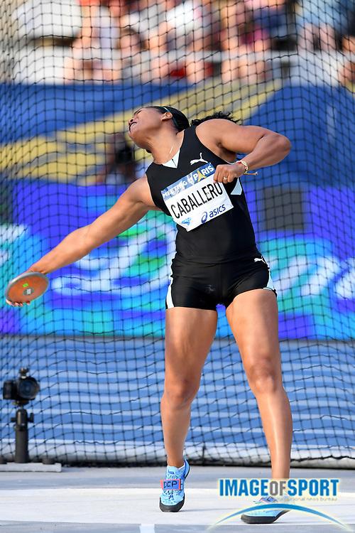 Denia Caballero (CUB) wins the women's discus at 219-6 (66.91m); during the Meeting de Paris, Saturday, Aug. 24, 2019, in Paris. (Jiro Mochizuki/Image of Sport via AP)