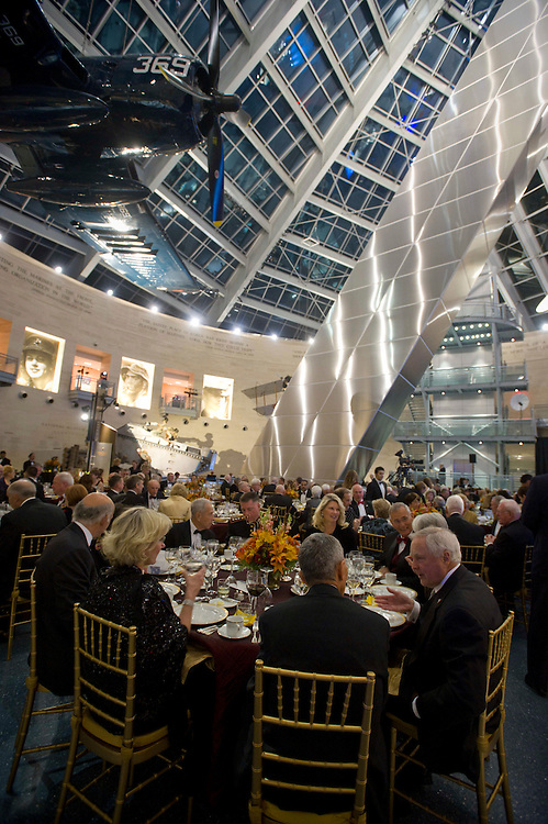TRIANGLE, Va (October 29, 2011) -- A special dinner at the National Museum of the Marine Corps is conducted in honor of Lt. Gen. George (Ron) Christmas for his role as past president and CEO of the Marine Corps Heritage Foundation. He was commissioned into the Marine Corps through the NROTC program at the University of Pennsylvania in 1962. He served in various infantry commands and staff assignments as a company grade officer including command of Company H, 2nd Battalion, 5th Marines in Vietnam. He was seriously wounded during the battle for Hue City during Tet '68 and for his actions there was awarded the Navy Cross.  With the growth of the Marine Corps Heritage Foundation's mission and enterprises, Gen Christmas devoted himself full time to these efforts until the Fall of 2011.  Lt. Gen. Christmas is married to the former Sherry Lownds. They have 4 children and 12 grandchildren.  Photo by Johnny Bivera
