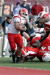 28 October 2006: Marcus Mason spins to get clear of the Redbird defense and steps untouched to the end zone. Youngstown State turned off over 15,000 fans as the win blew their way, cooling off Illinois State 27-13. Nationally ranked teams Youngstown State Penguins and Illinois State Redbirds competed at Hancock Stadium on the campus of Illinois State University in Normal Illinois.<br />
