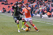 Blackpool Midfielder, Colin Daniel (23) and Bristol Rovers Defender, Tom Lockyer (4) during the EFL Sky Bet League 1 match between Blackpool and Bristol Rovers at Bloomfield Road, Blackpool, England on 13 January 2018. Photo by Mark Pollitt.