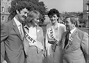 Rose of Tralee Contestants at Leinster House..1983.26.08.1983.08.26.1983.26th August 1983..As an elected representative from Kerry, this image shows the Tanaiste and Minister for the Enviroment,Mr Dick Spring with three of his possible constituents, Kerry Rose, Peggy King,Tralee Rose Martina Keane and Mr Denis Mannaix,President of the Festival Committee.