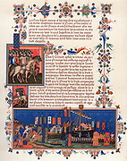 Crusaders embarking for the Holy Land. Page from 15th century 'Statutes of Order of Saint Esprit'. Banners show Papal arms, those of Holy Roman Emperor and the kings of England, France and Sicily. Chromolithograph