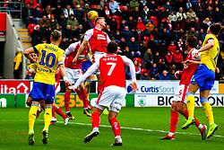 Michael Smith of Rotherham United heads clear - Mandatory by-line: Ryan Crockett/JMP - 26/01/2019 - FOOTBALL - Aesseal New York Stadium - Rotherham, England - Rotherham United v Leeds United - Sky Bet Championship