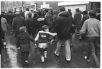 Young Tottenham Hotspurs fan at Tottenham - Arsenal FA cup tie, White Hart Lane, London street photography in 1982. Tri-X