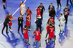 Players of Portugal celebrate win agains Spain after futsal match between Portugal and Spain in Final match of UEFA Futsal EURO 2018, on February 10, 2018 in Arena Stozice, Ljubljana, Slovenia. Photo by Urban Urbanc / Sportida
