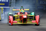 ABT Schaeffler Audi Sport driver, Lucas Di Grassi breaking hard and causing smoke during round 10, Formula E, Battersea Park, London, United Kingdom on 3 July 2016. Photo by Matthew Redman.