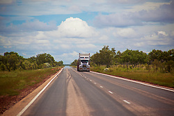 A truck travels down the highway between Fitzroy Crossing and the Broome Highway.