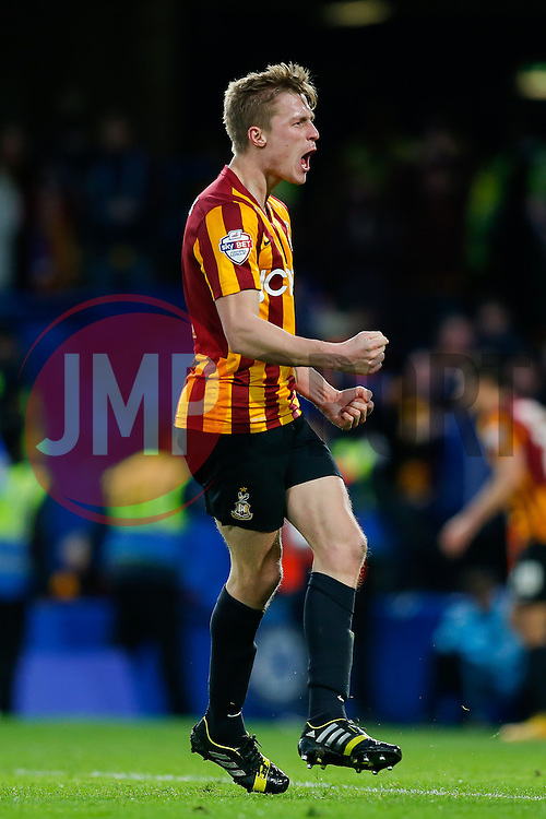 Stephen Darby of Bradford City celebrates after Andrew Halliday scores a goal to make it 2-3 after his side trailled 2-0 at one point - Photo mandatory by-line: Rogan Thomson/JMP - 07966 386802 - 24/01/2015 - SPORT - FOOTBALL - London, England - Stamford Bridge - Chelsea v Bradford City - FA Cup Fourth Round Proper.