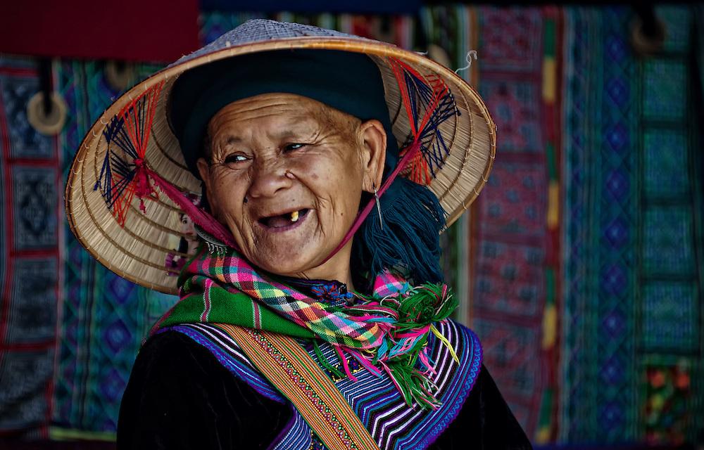 A Flower Hmong woman at the Bac Ha market, Vietnam.