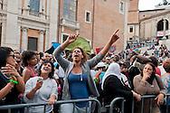 Roma, 1 Ottobre 2012.Manifestazione per il diritto all'abitare e contro la vendita del patrimonio comunale...Thousands of people protest at Rome's city hall, the Campidoglio, against Major of Rome Gianni Alemanno's plans to sell public assets, aimed at reducing public debt..
