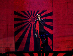 Jared Leto on stage presenting the Global Icon award to U2 during the MTV Europe Music Awards 2017 held at The SSE Arena, London. Photo credit should read: Doug Peters/EMPICS Entertainment
