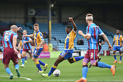 Sullay Kaikai of Shrewsbury Town scores for shrewsbury to go 1-0 up during the Sky Bet League 1 match between Scunthorpe United and Shrewsbury Town at Glanford Park, Scunthorpe, England on 17 October 2015. Photo by Ian Lyall.