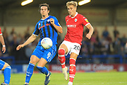 MJ Williams and Brad Potts during the EFL Sky Bet League 1 match between Rochdale and Barnsley at Spotland, Rochdale, England on 21 August 2018.