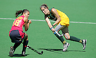 Olalla PINEIRO blocks a pass from Lisa-Marie DEETLEFS during the BDO Women's Champions Challenge 1 match between South Africa and Spain held at the Hartleyvale Stadium in Cape Town, South Africa on the 17 October 2009 ..Photo by RG/www.sportzpics.net.+27 21 (0) 21 785 6814