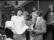 Rose of Tralee at O'Neill's Capel St, Dublin.1983..22.09.1983.09.22.1983.22nd September 1983.Image of the Rose Of Tralee 1983, .Ms Brenda Hyland, as she samples the wares at O'Neill's Sport Shop, Capel St,Dublin...Unfortunately the caption does not include the others in the photographs. If you know who they are,why not e-mail us at info@lensmen.ie.