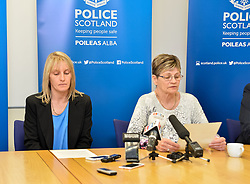 Pictured: Julie Reilly's mother Margaret Hanlon (right) and sister Lynne Bryce read a family statement during the press conference.<br /> <br /> Police held a press conference to appeal for help in tracing missing Glasgow woman Julie Reilly, who went missing on 06 February 2018.<br /> <br /> &copy; Dave Johnston / EEm