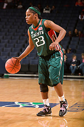 Miami (FL) guard LaToya Cunningham (23) in action against UVA.  The #21 ranked Virginia Cavaliers defeated the Miami Hurricanes 85-74 in overtime at the John Paul Jones Arena in Charlottesville, VA on February 19, 2009.