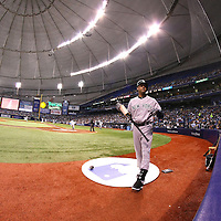 New York Yankees shortstop Derek Jeter (2) is seen in the on-deck circle during a major league baseball game between the New York Yankees and the Tampa Bay Rays at Tropicana Field on Thursday, Sept. 17, 2014 in St. Petersburg, Florida. (AP Photo/Alex Menendez)