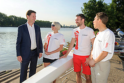 © Licensed to London News Pictures. 15/07/2013 London, UK. Deputy Prime Minister, Nick Clegg meets members of of the London 2018 Gay Games Bid committee, Barn Elms Boathouse, Barnes, London.<br /> Photo credit : Simon Jacobs/LNP