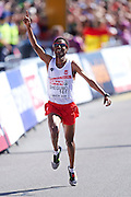 Yared Shegumo from Poland celebrates his silver medal in men's marathon during the Sixth Day of the European Athletics Championships Zurich 2014 at Letzigrund Stadium in Zurich, Switzerland.<br /> <br /> Switzerland, Zurich, August 17, 2014<br /> <br /> Picture also available in RAW (NEF) or TIFF format on special request.<br /> <br /> For editorial use only. Any commercial or promotional use requires permission.<br /> <br /> Photo by &copy; Adam Nurkiewicz / Mediasport