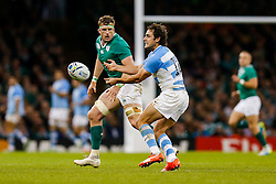 Argentina's Man of the Match Nicolas Sanchez passes - Mandatory byline: Rogan Thomson/JMP - 07966 386802 - 18/10/2015 - RUGBY UNION - Millennium Stadium - Cardiff, Wales - Ireland v Argentina - Rugby World Cup 2015 Quarter Finals.