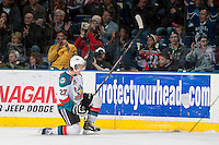 KELOWNA, CANADA - MARCH 23: Ryan Olsen #27 of the Kelowna Rockets celebrates a goal against the Tri-City Americans on March 23, 2014 during game 2 of the first round of WHL Playoffs at Prospera Place in Kelowna, British Columbia, Canada.   (Photo by Marissa Baecker/Getty Images)  *** Local Caption *** Ryan Olsen;