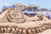 Vans US Open of Surfing Logo Sand Sculpture at Huntington Beach Pier