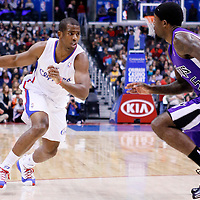 25 October 2013: Los Angeles Clippers point guard Chris Paul (3) drives past Sacramento Kings small forward John Salmons (5) during the Sacramento Kings 110-100 victory over the Los Angeles Clippers at the Staples Center, Los Angeles, California, USA.