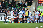 Glasgow Warriors hooker Grant Stewart (2) scores the opening try to make it 5-0 during the Heineken Champions Cup match between Glasgow Warriors and Cardiff Blues at Scotstoun Stadium, Glasgow, Scotland on 13 January 2019.