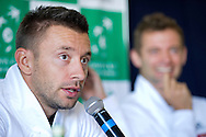 Michal Przysiezny of Poland while press conference three days before the BNP Paribas Davis Cup 2014 between Poland and Croatia at Torwar Hall in Warsaw on April 1, 2014.<br /> <br /> Poland, Warsaw, April 1, 2014<br /> <br /> Picture also available in RAW (NEF) or TIFF format on special request.<br /> <br /> For editorial use only. Any commercial or promotional use requires permission.<br /> <br /> Mandatory credit:<br /> Photo by © Adam Nurkiewicz / Mediasport