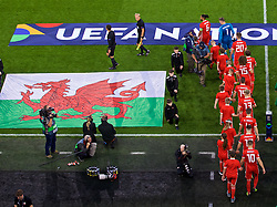 CARDIFF, WALES - Thursday, September 6, 2018: Wales players walk out before of the UEFA Nations League Group Stage League B Group 4 match between Wales and Republic of Ireland at the Cardiff City Stadium. (Pic by Laura Malkin/Propaganda)